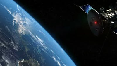 Satellite And Earth In Orbit