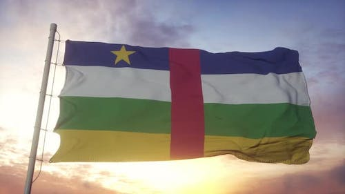 Flag of Central African Republic Waving in the Wind Sky and Sun Background