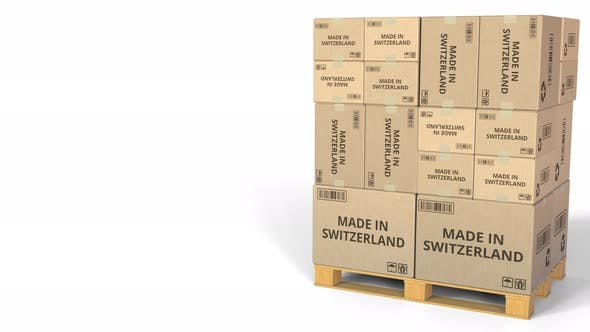 Thumbnail for MADE IN SWITZERLAND Text on Warehouse Cartons