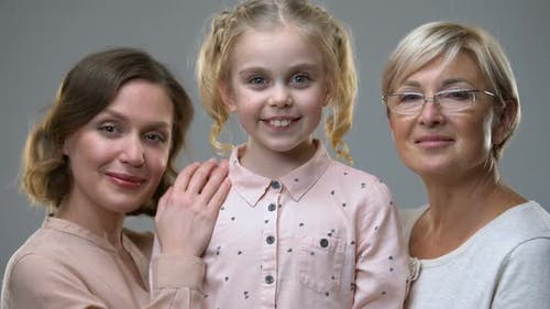 Portrait of Adopted Girl With New Loving Family, Children Rights, Protection