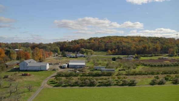 Aerial of beautiful farmland at countryside, wide shot