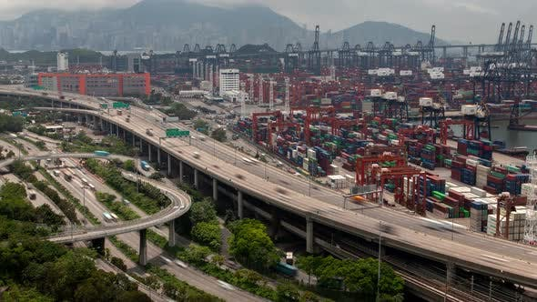 Thumbnail for Hong Kong Container Port Terminal and Logistics Center Timelapse Pan Up