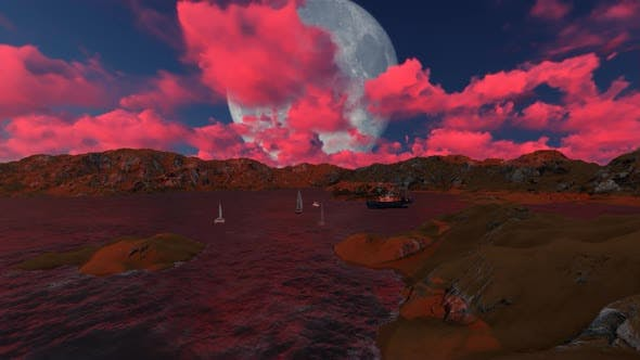 Thumbnail for Sailboats dock at night when there is a full moon