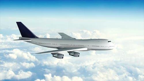 Modèle 3D réaliste plan blanc dans le ciel