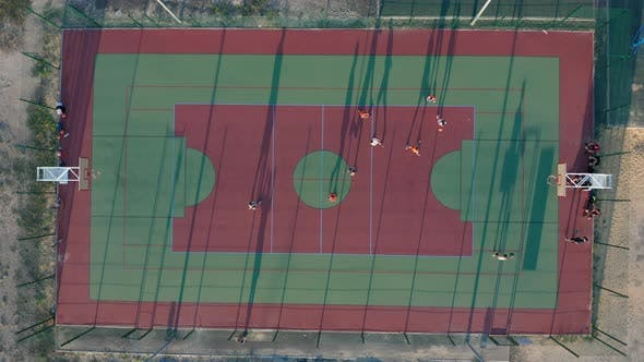Thumbnail for Aerial View, Park with a Basketball Field and a Training Platform, Sports Area