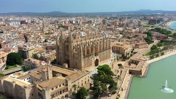 Thumbnail for Aerial Drone Video Footage Famous Cathedral La Seu in Palma De Mallorca Spain