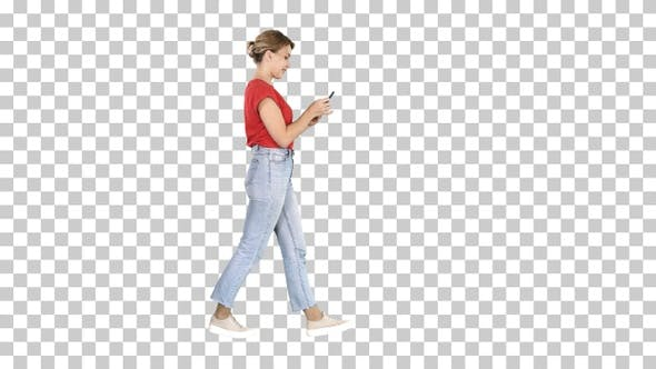 Thumbnail for Beautiful Young Woman Walking and Reading, Alpha Channel