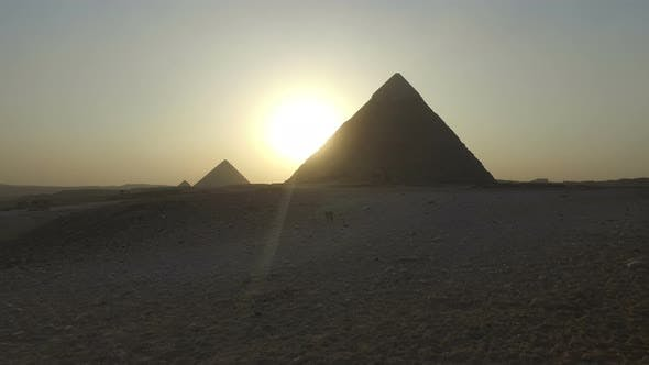 View of Giza pyramids at sunset