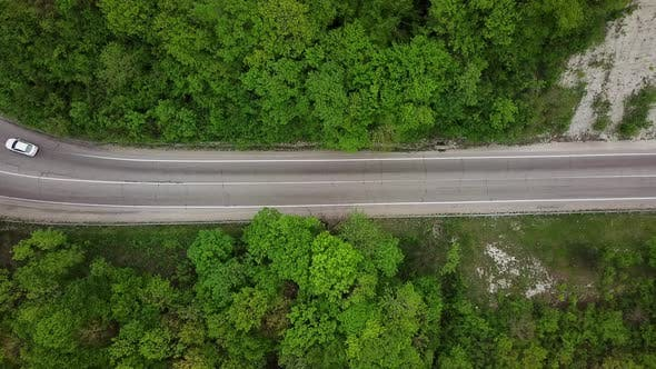 Thumbnail for Car Is On The Country Road. Driving Through The Evergreen Forest. Top View