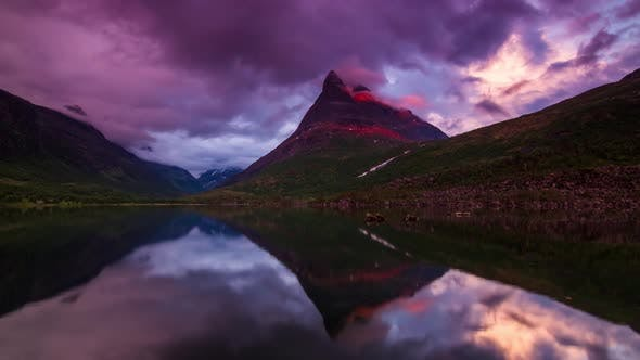 Thumbnail for norway purlpe coulds sky sunset  mountain  and cristal river timelapse