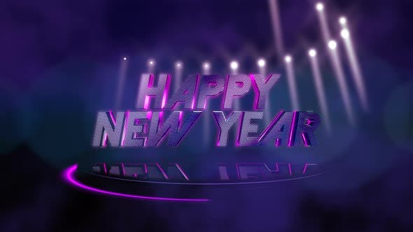 Thumbnail for Text Happy New Year and motion colorful beams light on stage, abstract holiday background
