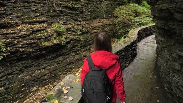 Thumbnail for Female Tourist Walking Through Watkins Glen State Park Natural Gorge
