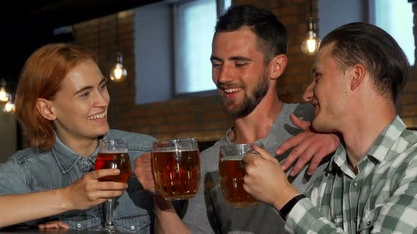 Thumbnail for Happy Young People Clinking Their Beers and Smiling To the Camera