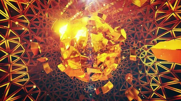 Thumbnail for Gold Debris Fantasy 3D Geometric Shapes Background