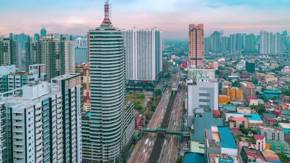 Cover Image for Aerial View Skyline and Skyscapers of Manila City, Philippines