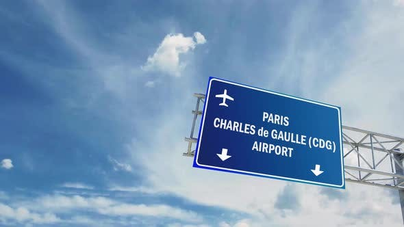 Airport Sign. Paris Charles De Gaulle International Airport Airplane Passing Overhead