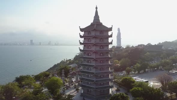 Thumbnail for Upper View Religious Complex with Pagoda on Ocean Coast