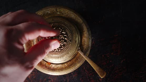 The Man's Hand Opens the Lid with a Plate of Red Caviar