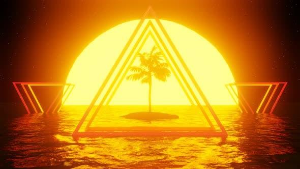 Thumbnail for 80er Jahre Retro-Szene mit Palmen, Sonnenuntergang und Wasser