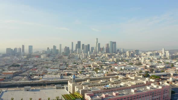 Thumbnail for AERIAL: Breathtaking Wide Shot Towards Downtown Los Angeles, California Skyline in Beautiful