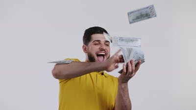 Man with Happy Face Scatters Money