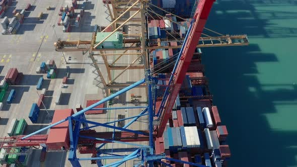 Thumbnail for Aerial View. Container Ship Loading and Unloading in Deep Sea Port