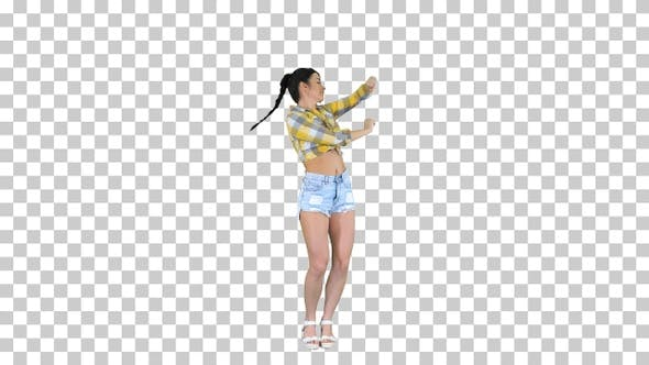 Thumbnail for Girl in square shirt and jeans shorts, Alpha Channel