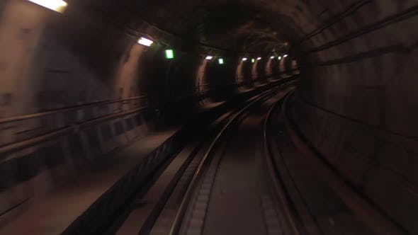 Thumbnail for Train Moving Through the Subway Tunnel, Cabin View