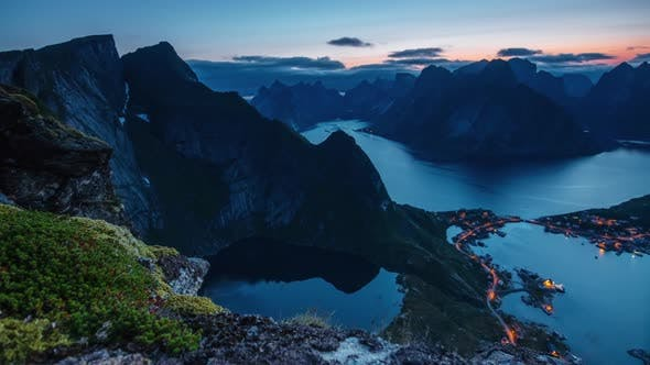 Thumbnail for Time-lapse View From Reinebringen Summit on Reine Village and Fjord at Dusk, Lofoten