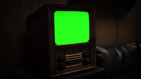 Thumbnail for Old Wooden TV with Green Screen. Sepia Tone. Zoom In.
