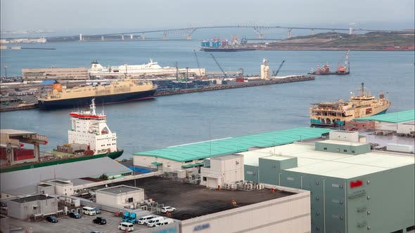 Container Terminal Bay Seaport Dockland Area Tokyo