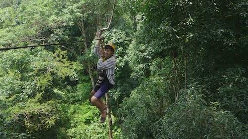 Man Enjoying On Zip-lining