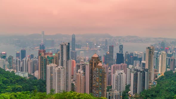 Thumbnail for Day To Night Timelapse Panorama View of Hong Kong Cityscape