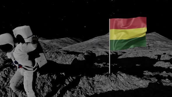 Astronaut Planting Bolivia Flag on the Moon