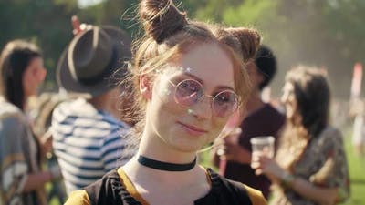 Beautiful woman at the music festival