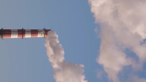 Vertical orientation video: Pipe with white smoke