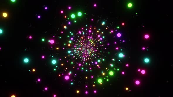 Ring Tunnel Of Shimmering Neon Balls 4K