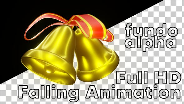 Christmas Bells 3D FullHD Falling Animation