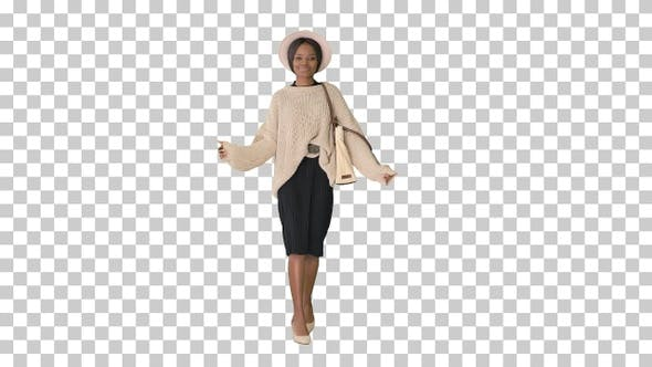 Thumbnail for Stylish african american woman in knitwear, Alpha Channel