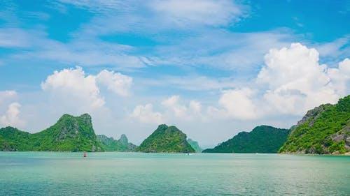 Time lapse: Ha Long Bay from Cat Ba island, famous tourism destination in Vietnam