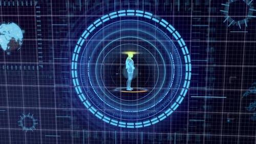 Futuristic blue HUD Medicine Personal Data screen grid display background