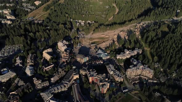 Thumbnail for Helicopter View Panning From Whistler Village To Blackcomb Mountain In British Columbia Canada