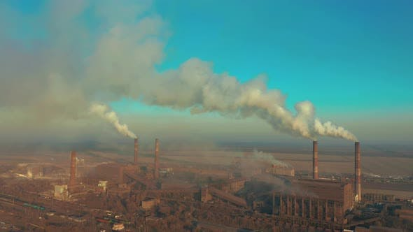 Thumbnail for Aerial View. Emission To Atmosphere From Industrial Pipes. Smokestack Pipes Shooted with Drone