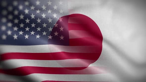 USA Japan Flag Mix Textured Waving Front Background HD
