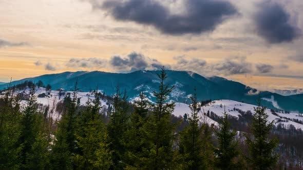 Thumbnail for View in Sundown Winter Mountain, Timelapse