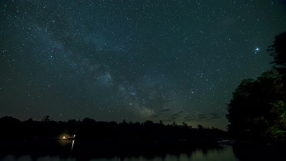 Thumbnail for Time Lapse Of The Milky Way Galaxy Above A Lake At A Cottage