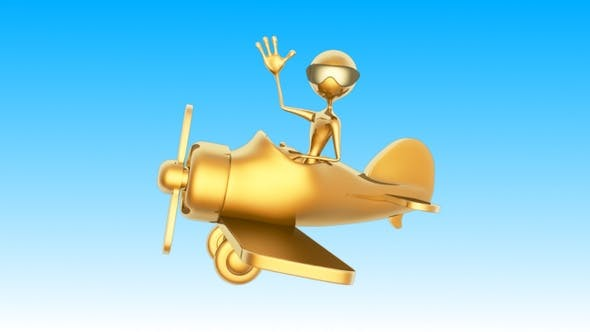 Gold Man 3D Character - Flight on Airplane