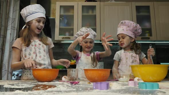 Girls baking together
