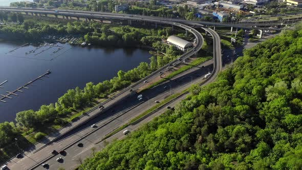 Aerial View of Embankment Highway
