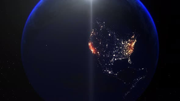Realistic Earth Night Zoom Out Clouds United States Of America California Los Angeles